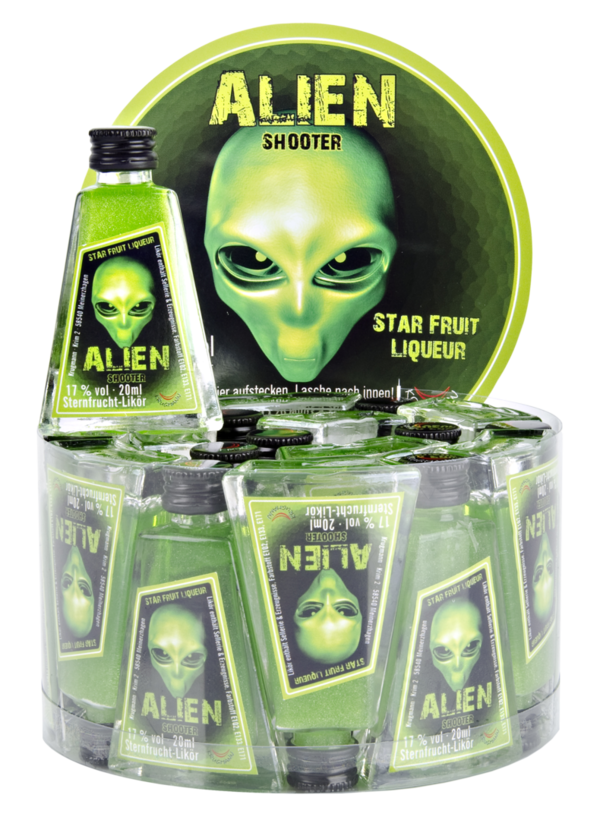 ALIEN SHOOTER Starfruit liqueur / Glitzer-Likör 15% Vol. 20x20ml