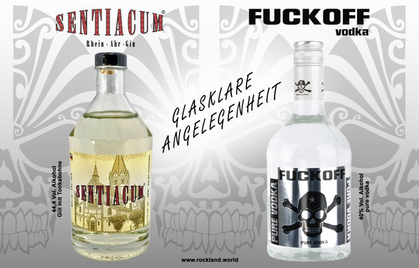 GLASKLARE ANGELEGENHEIT 1x Senticaum Gin & 1x FUCKOFF pure vodka