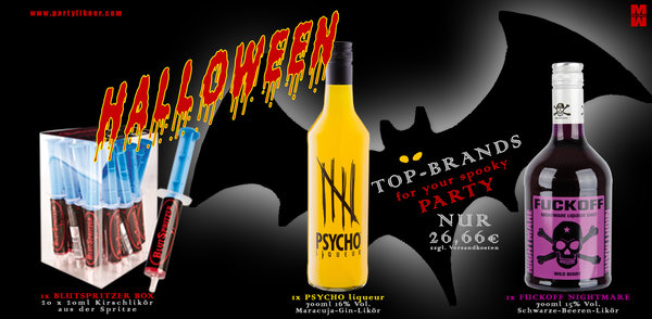 HALLOWEEN Special Offer 1x BlutSpritzer Box, 1x PSYCHO Likör & 1x FUCKOFF NIGHTMARE