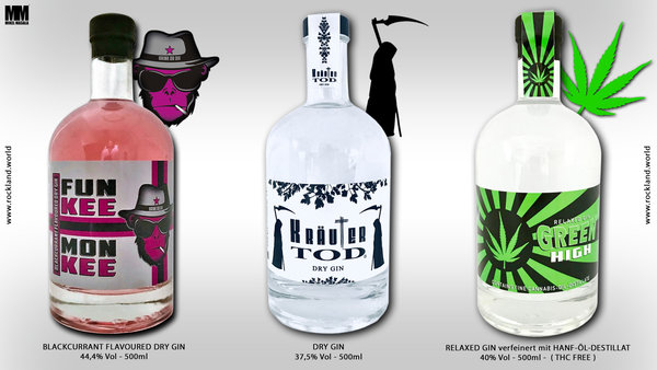 GIN-POWER-PAKET mit FUNKEE MONKEE, KRÄUTERTOD & GREENHIGH je 500ml